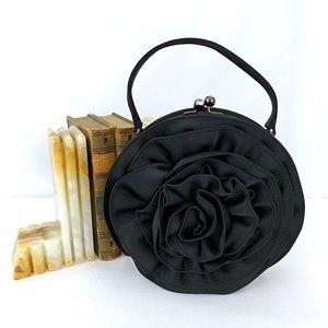 "Black Satin Rose Evening Bag Kiss Lock Talbots 7"""
